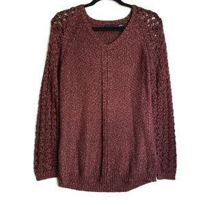 Tribal Marled Sweater Open Knit Sleeves Fall